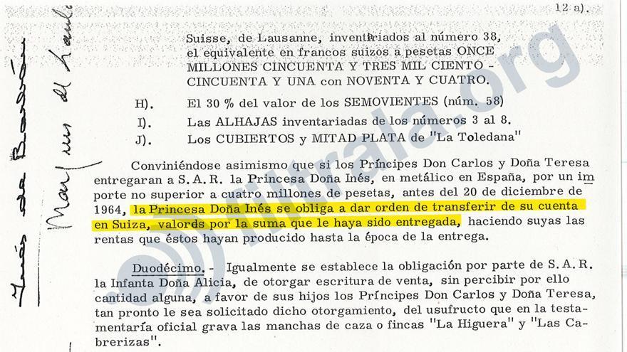 Fragmento del testamento de Alfonso de Borbón donde se especifica que Inés lo cobrará a través de sus cuentas Suizas