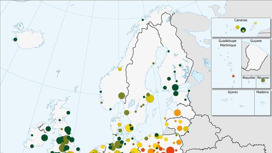 Las zonas marcadas en amarillo, naranja y rojo son las que violan los límites de la OMS