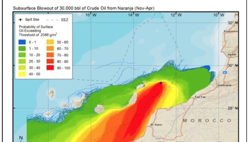 Mapa de Riesgo elaborado por Repsol sobre un hipotético derrame en Canarias.