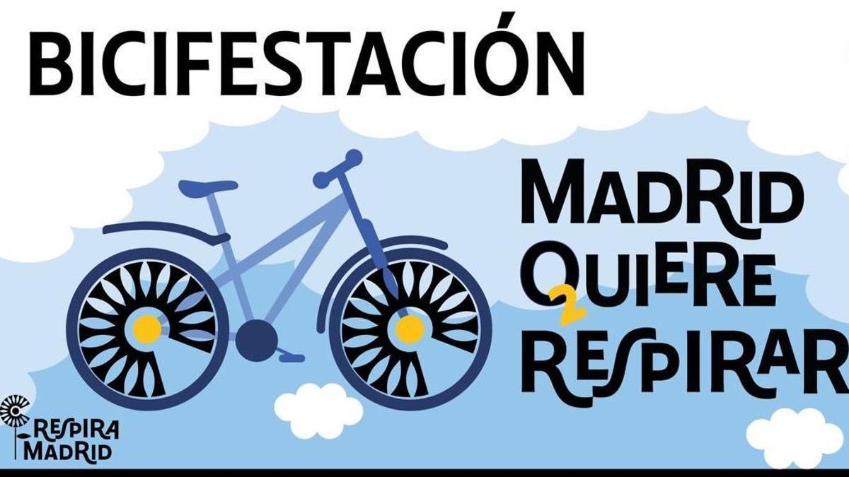 Cartel de la bicifestación del 6 de junio por Madrid Central