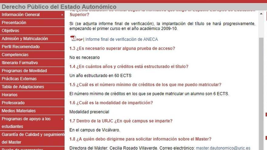 Imagen de la página del máster de derecho autonómico en el repositorio archive.org.