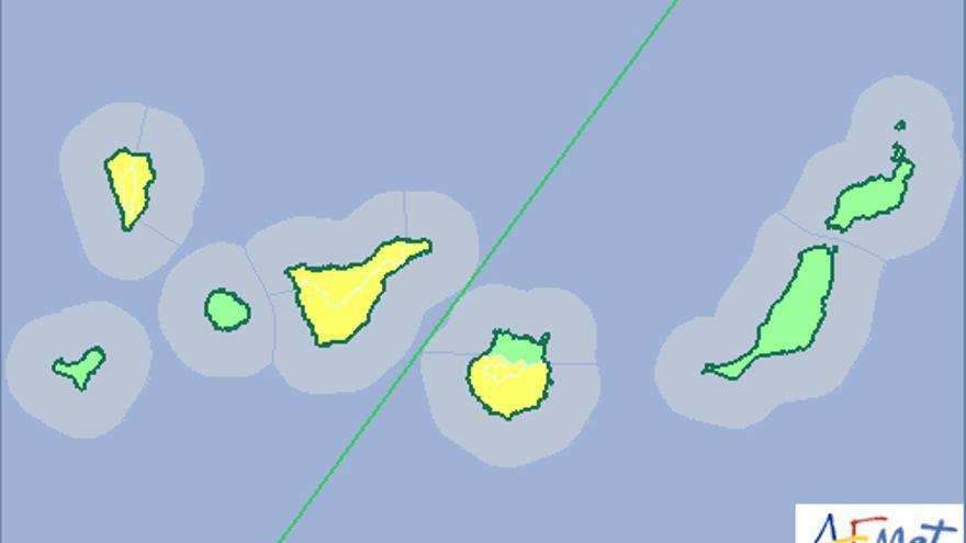 El aviso amarillo por lluvias se extiende este martes a La Palma, Tenerife y parte de Gran Canaria.(Aemet).