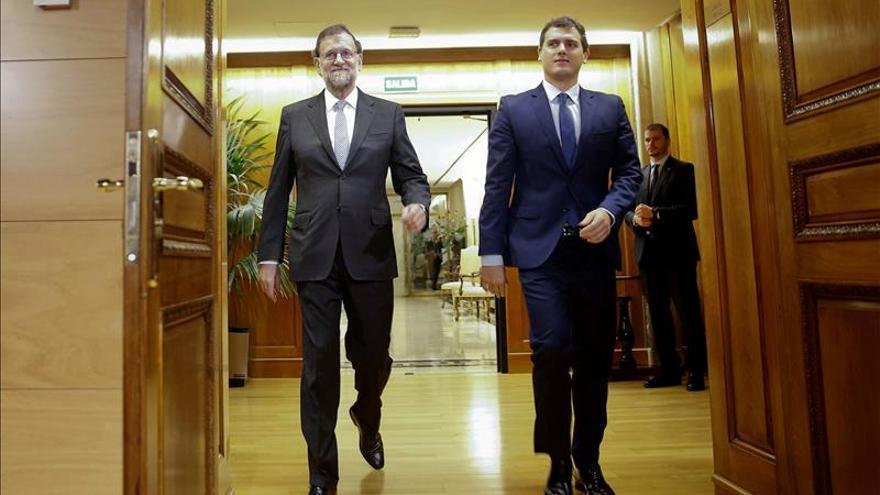 Rajoy y Albert Rivera antes de una de sus reuniones previas a las negociaciones