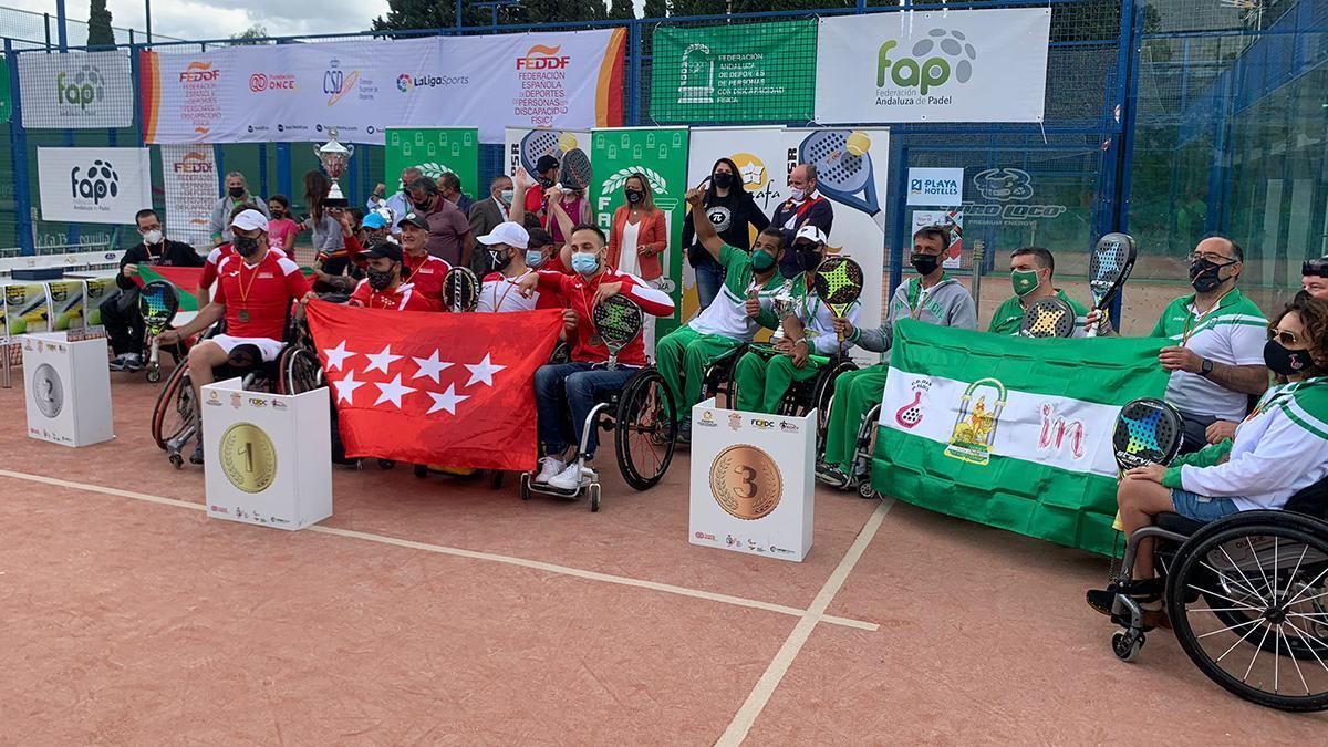 Podio del III Campeonato de España de Pádel en sillas de ruedas.