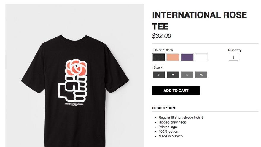 La camiseta del PSOE, en la web de Stussy en negro