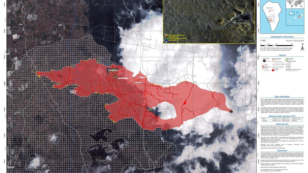 Por primera vez, Copernicus ha ofrecido en su actualización sobre el volcán de La Palma un cálculo de la extensión del depósito de cenizas.