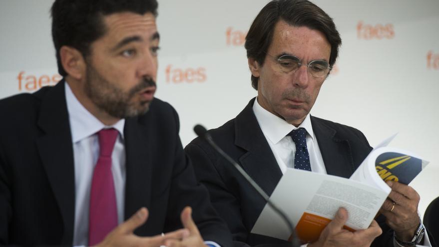 Miguel Marín, junto a José María Aznar en un acto de FAES en julio de 2014. Foto: FAES