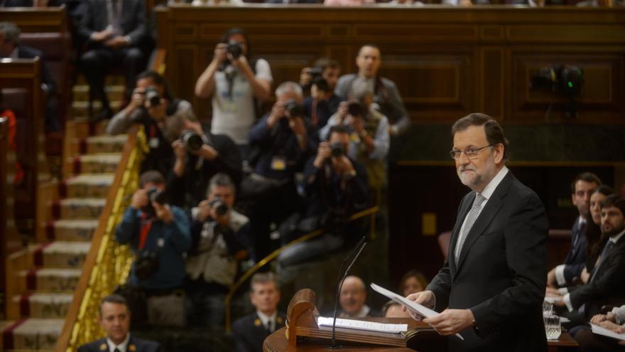 El presidente en funciones, Mariano Rajoy, en el debate de investidura.