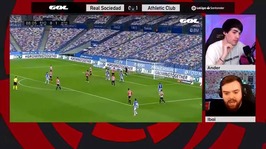 Ibai Llanos y Ander Cortés comentando el Real Sociedad-Athletic