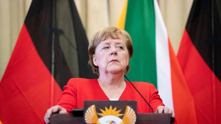 Angela Merkel durante la rueda de prensa con el presidente sudafricano, Cyril Ramaphosa.