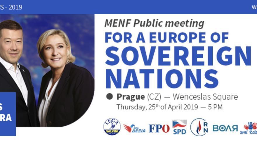 Reunión de la extrema derecha en Praga el 25 de abril de 2019.