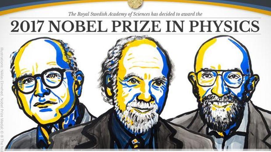 Ilustración de los tres ganadores del Nobel de Física 2017