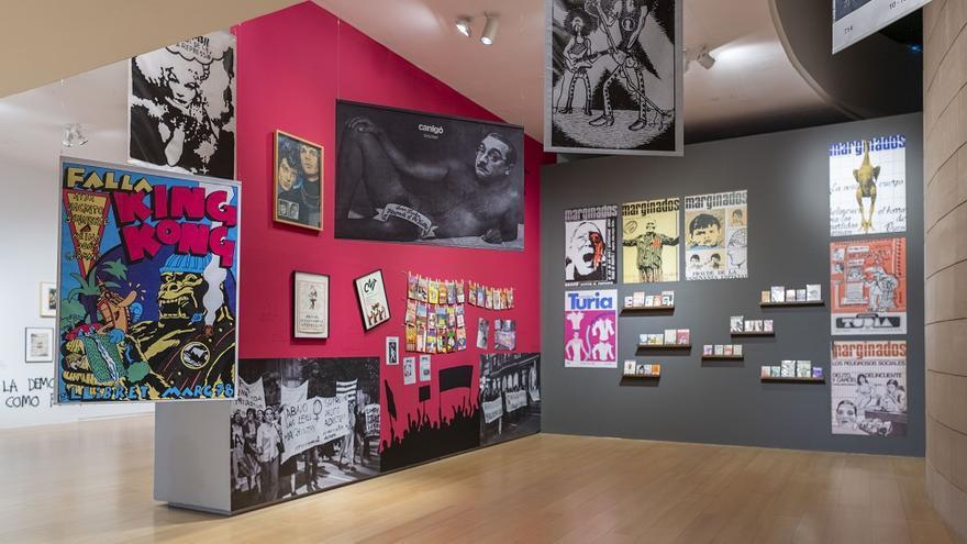 La primera sala de la exposición del IVAM 'Contracultura Utopía, resistencia y provocación en València'.