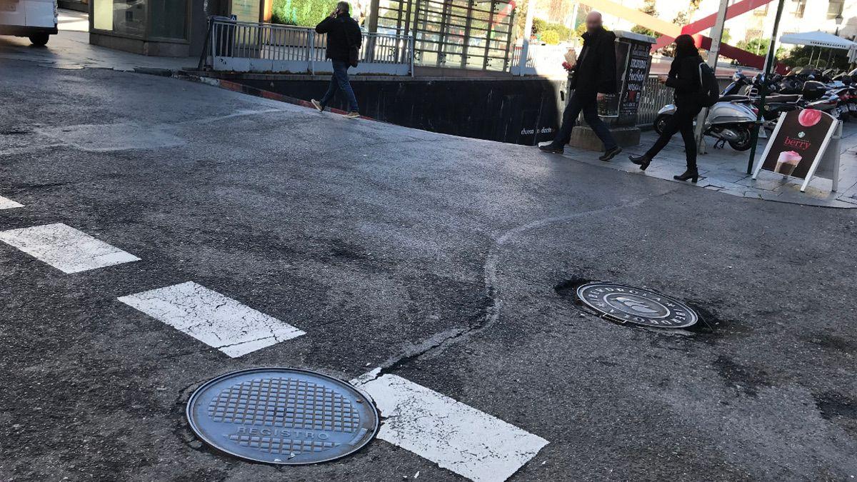 Acceso al aparcamiento de la Plaza de Pedro Zerolo con el asfalto en mal estado | SOMOS CHUECA