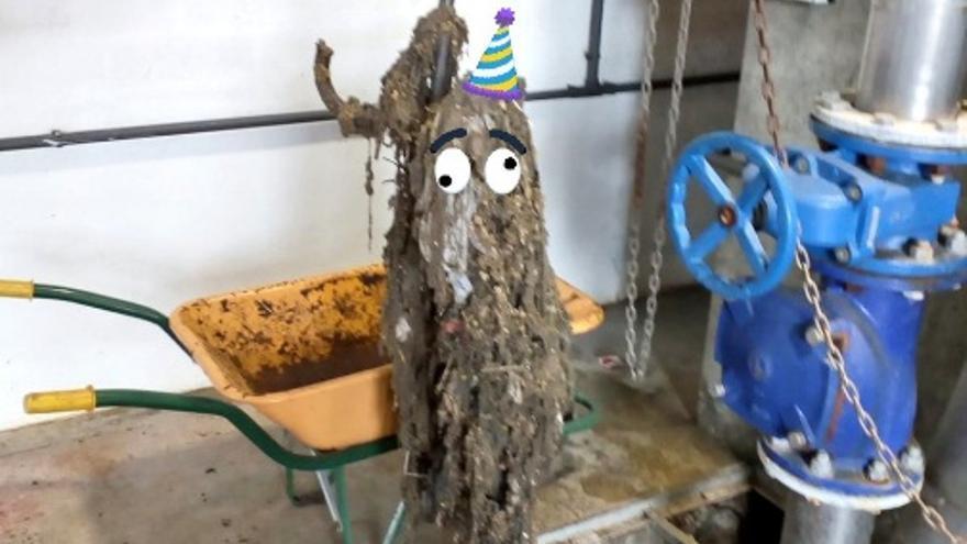 Este monstruo de las toallitas se pegó la 'fiesta' al viajar por toda la red de saneamiento de Zahínos hasta la depuradora