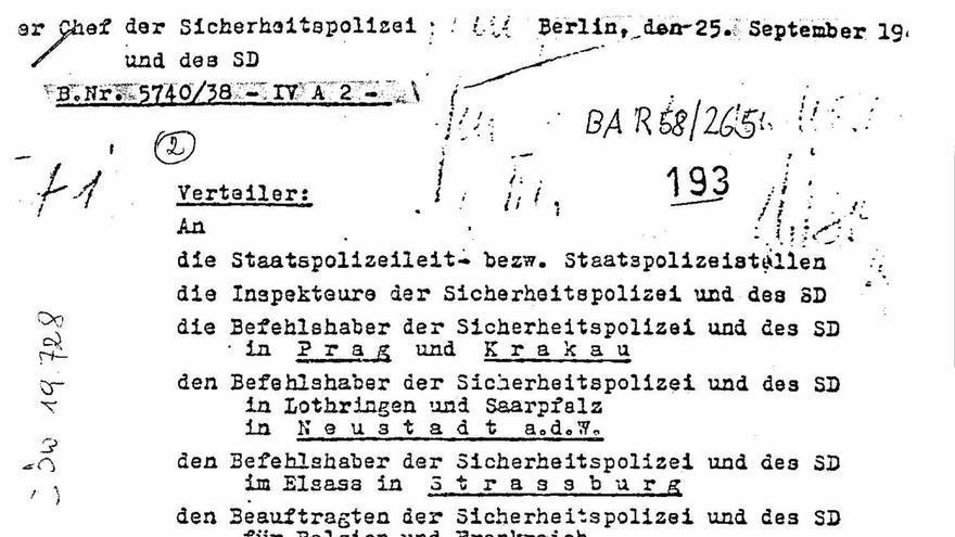 Primera página de la orden de la Oficina del Seguridad del Reich en la que ordenaba a la Gestapo sacar a los españoles de los campos de prisioneros de guerra y enviarlos a campos de concentración