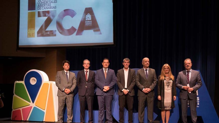 Acto de inauguración del Congreso de Zonas Comerciales Abiertas de Canarias, este lunes en Arona