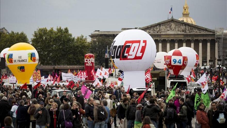 Los sindicatos franceses se manifiestan contra la reforma de las pensiones