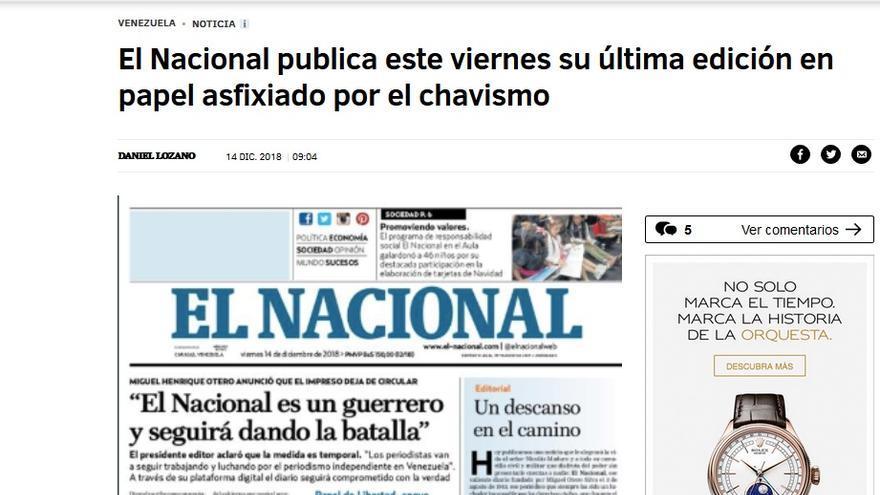 PERIODICO CIERRA POR EL CHAVISMO