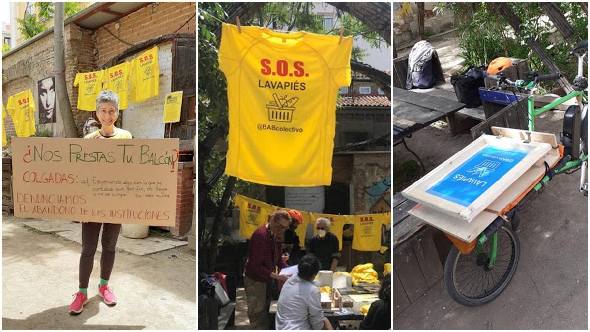 A la izquierda, activista del BAB pidiendo balcones. En el centro, reunión en Esta es una plaza. A la derecha, bicicleta con el taller móvil de estampación