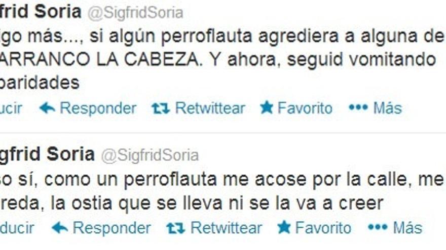 Mensajes de Sigfrid Soria en Twitter contra los 'perroflautas'