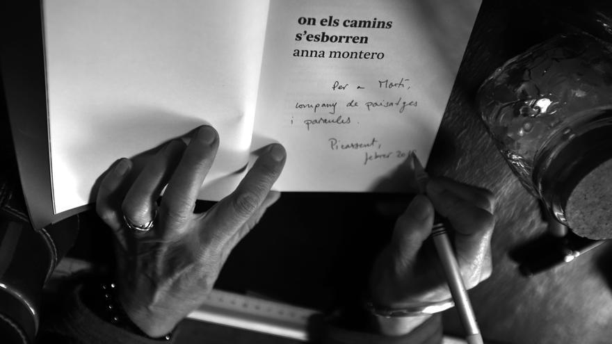En el seu darrer poemari 'On els camins s'esborren', la veu d'Anna Montero ha assolit un intens to elegíac, un enyorament de la vida passada, dels dies feliços que s'escolen sense adornar-te'n.