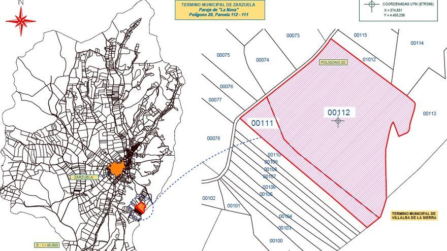 Mapa de situación del proyecto con respecto a Zarzuela o a otras poblaciones como Villalba de la Sierra