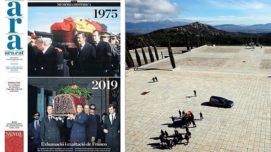 Portada del periódico ARA de la exhumación de Franco