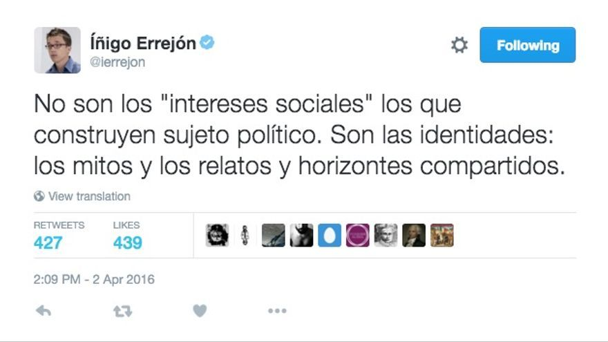 Captura de un tuit de Íñigo Errejón.
