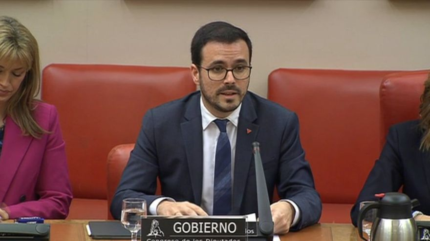 El ministro de Consumo, Alberto Garzón, en el Congreso de los Diputados, el 28 de febrero de 2020.