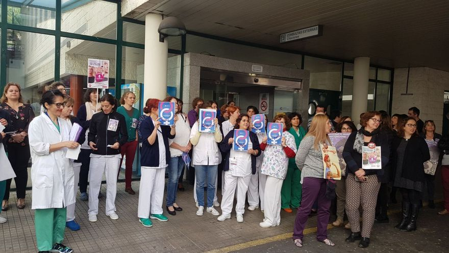 Concentración este jueves convoca por UGT, CCOO y CGT en el Hospital de La Palma de trabajadoras del Área de La Palma con motivo de la huelga feminista.