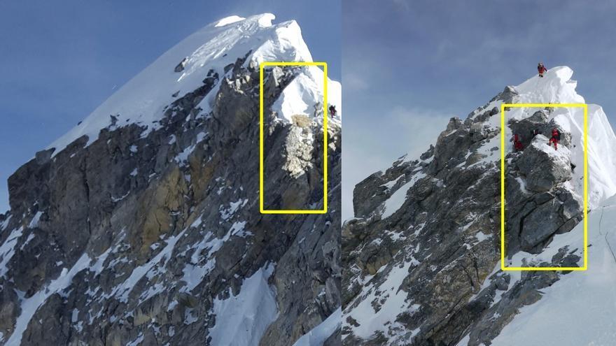 Foto de la derecha tomada en 2011. Foto de la izquierda en 2017. La roca más grande, el paso principal del escalón (en la foto de 2011 se ve a un alpinista de pie sobre ella), ha desaparecido. En su lugar, ahora se ve  (foto 2017) una gran masa de nieve (© Garrett Madison).