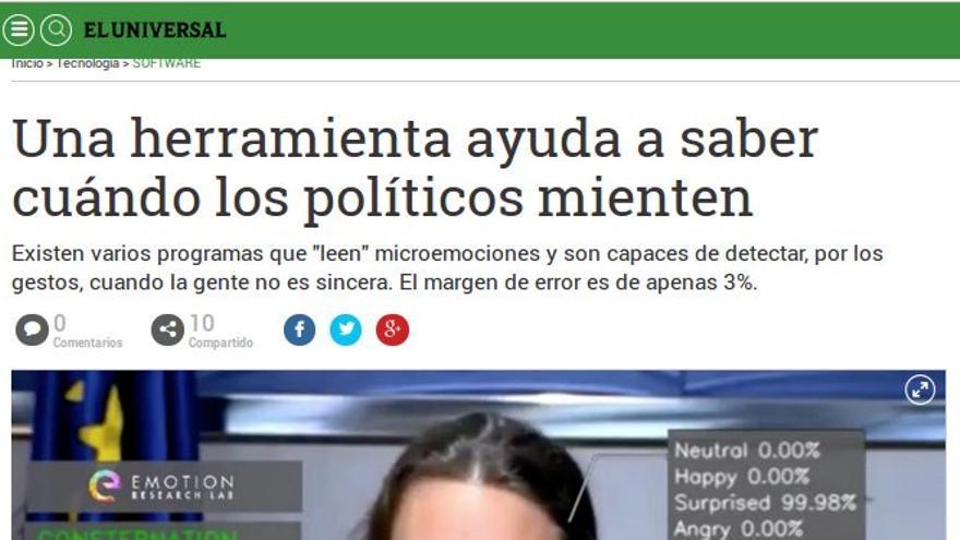 """""""Una herramienta ayuda a saber cuándo los políticos mienten"""", en El Universal"""