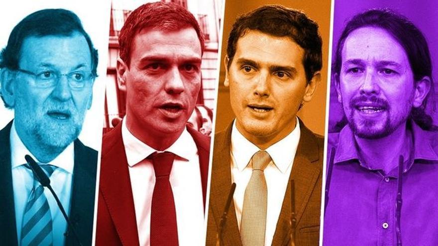 Los candidatos a la presidencia del gobierno Mariano Rajoy, Pedro Sánchez, Albert Rivera y Pablo Iglesias