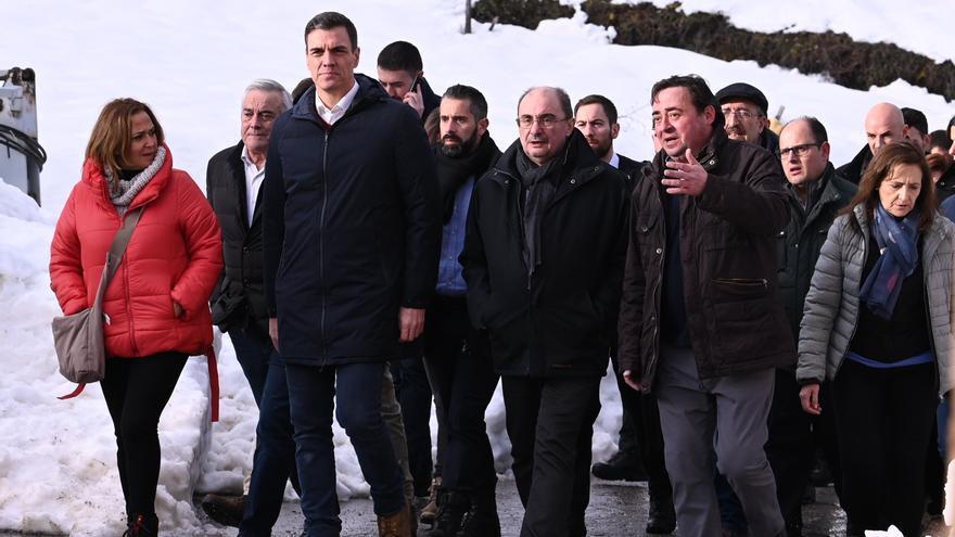 Pedro Sánchez y Javier Lambán visitaron el sábado localidades afectadas por la borrasca Gloria en Teruel.