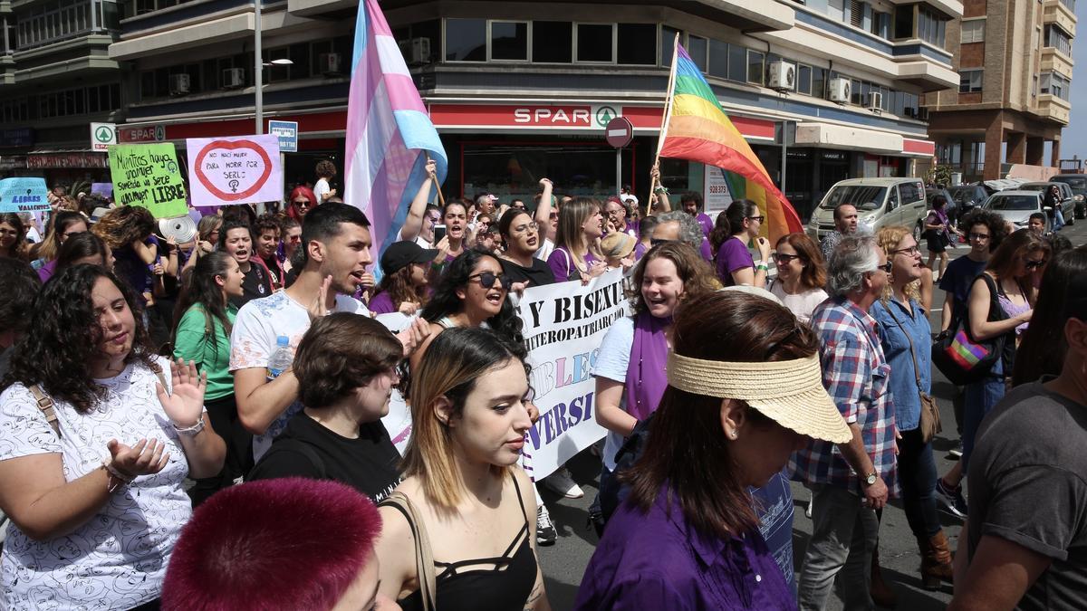 Pancartas y bandera por los derechos de las personas trans. (ALEJANDRO RAMOS)