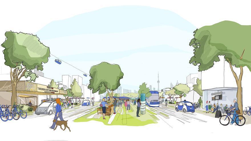 Una representación de los medios de transporte en Sidewalk Toronto