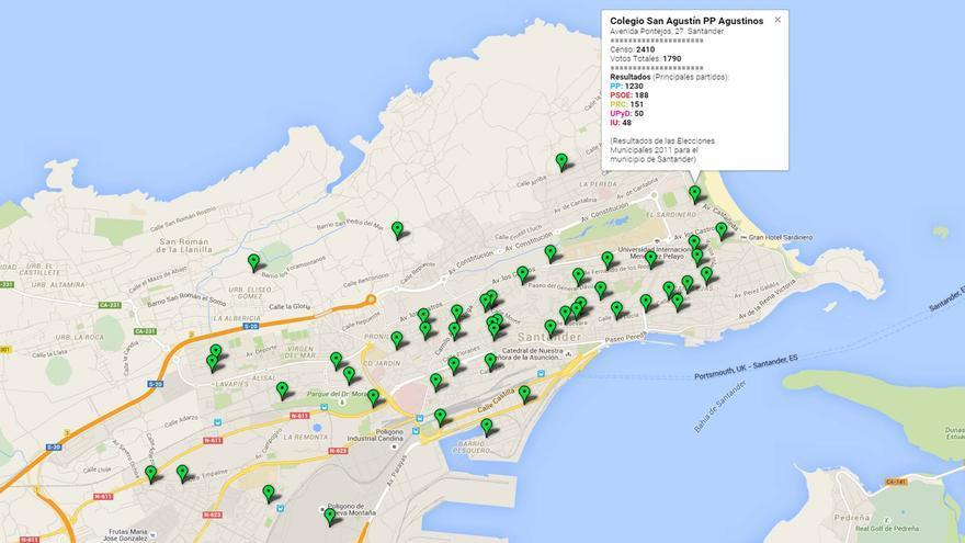 Mapa de Santander por colegios electorales.