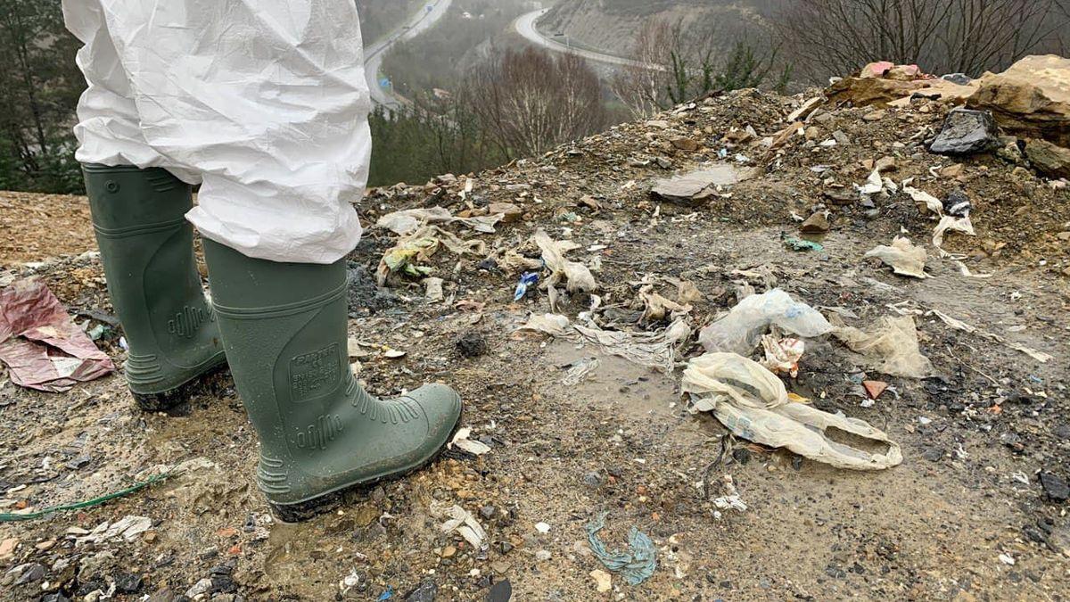 Labores de rastreo en la lengua de residuos desplomada en Zaldibar