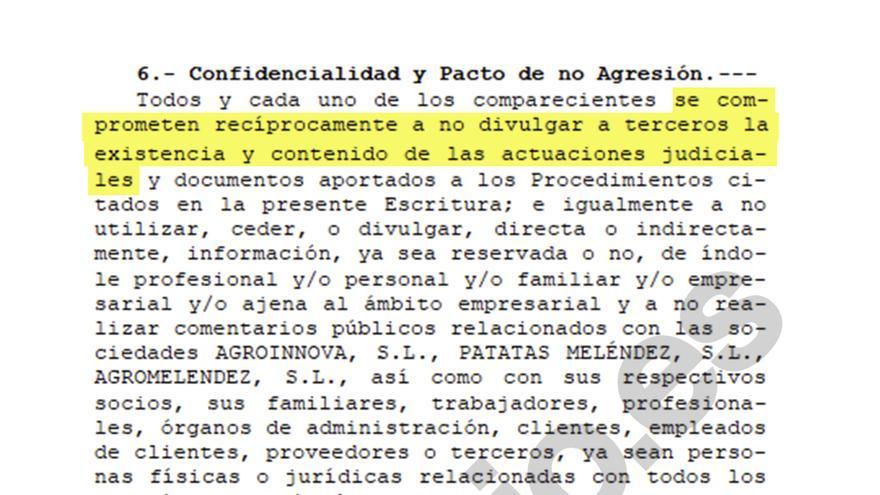 Punto 6 del acuerdo de confidencialidad firmado por los padres y el marido de Silvia Clemente.