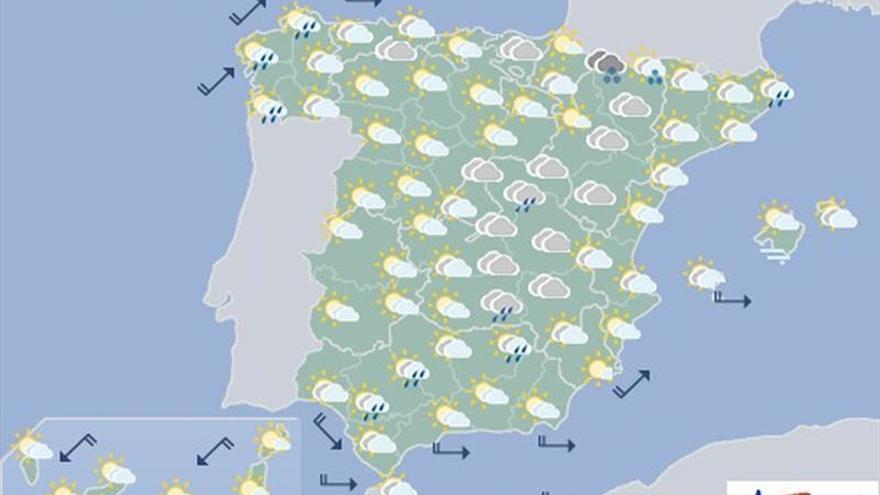 Mañana, lluvias débiles en Cataluña, Valencia, Galicia y centro peninsular