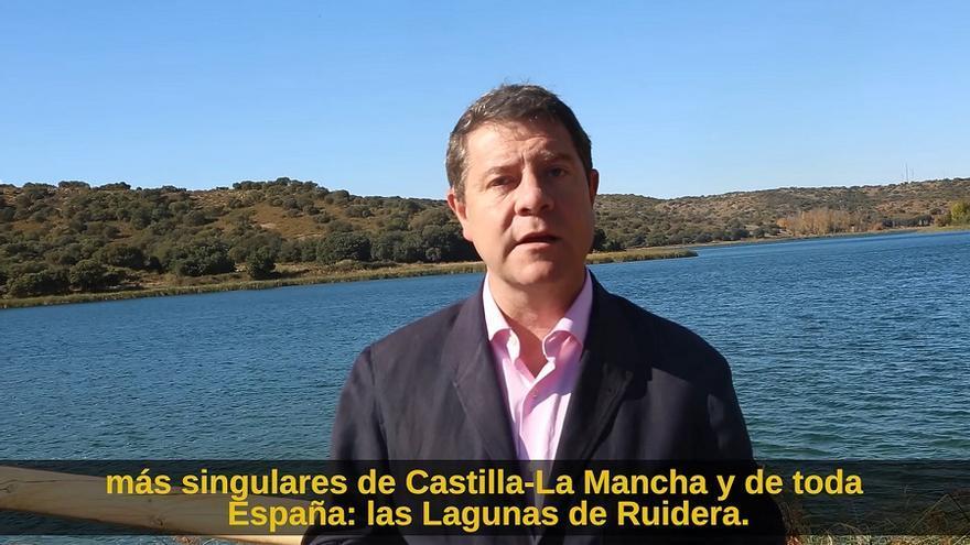 En el vídeo se puede ver al presidente en el entorno de Las Lagunas de Ruidera.