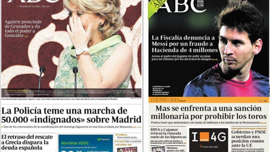 En ABC no hay noticias de Botín en 2011, pero Messi es el protagonista en 2013 / Minutario