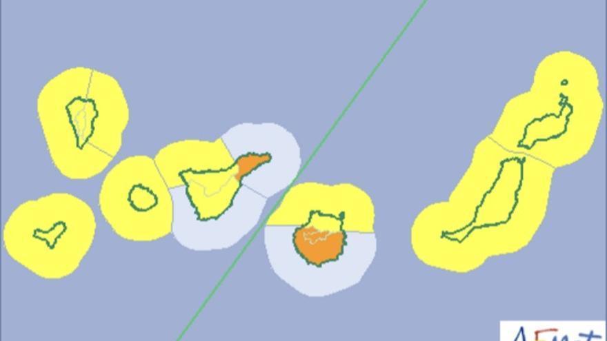 Mapa de la Aemet de avisos de riesgo por lluvias y fenómenos costeros para este martes.
