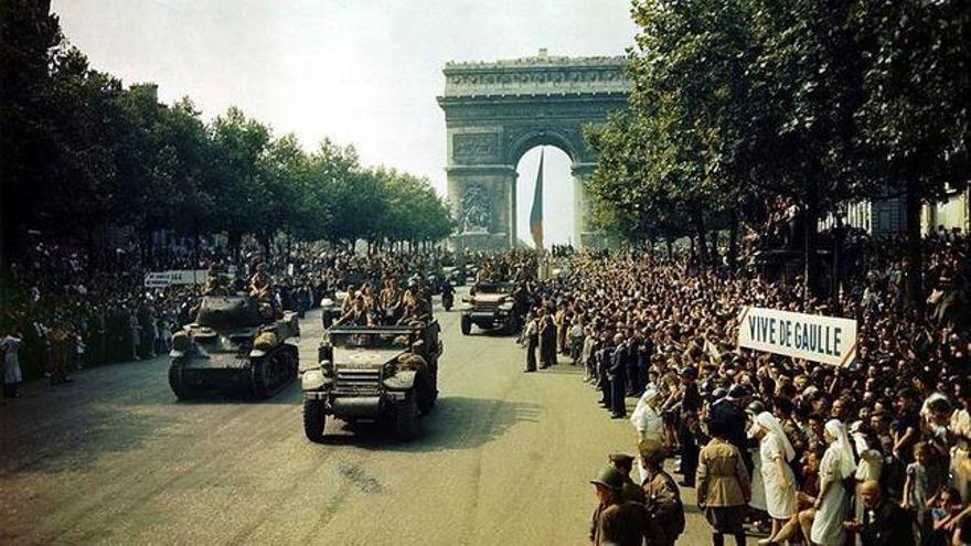 Desfile de la liberación de París en la Segunda Guerra Mundial