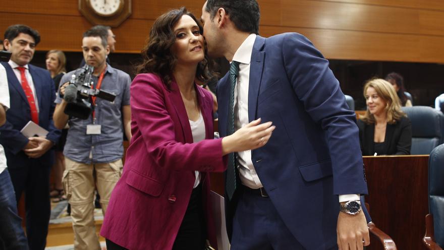 La candidata del PP a la Comunidad de Madrid, Isabel Díaz Ayuso, y el de Ciudadanos, Ignacio Aguado. / Europa Press