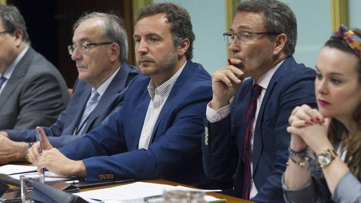 El profesor de la Universidad de Oviedo, José Muñiz (cuarto por la derecha), en el Parlamento Vasco