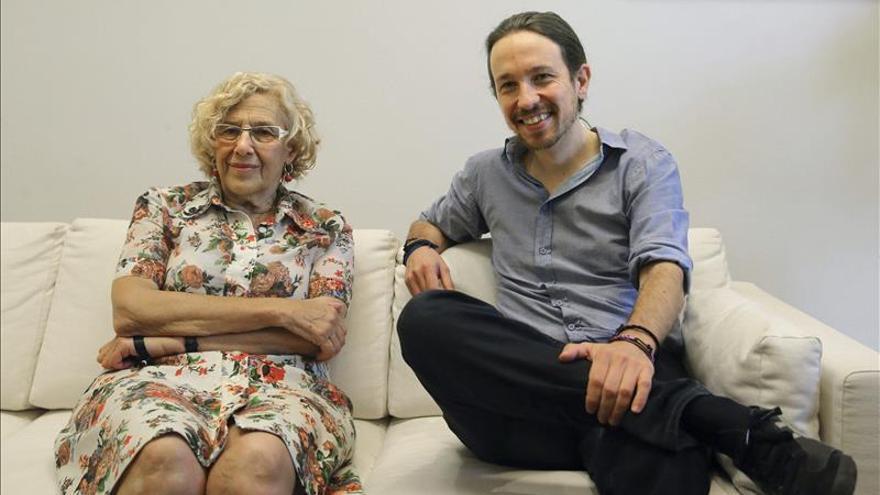 Manuela Carmena y Pablo Iglesias en su encuentro este viernes