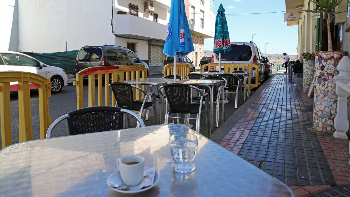 Una terraza provisional en El Tablero, Gran Canaria