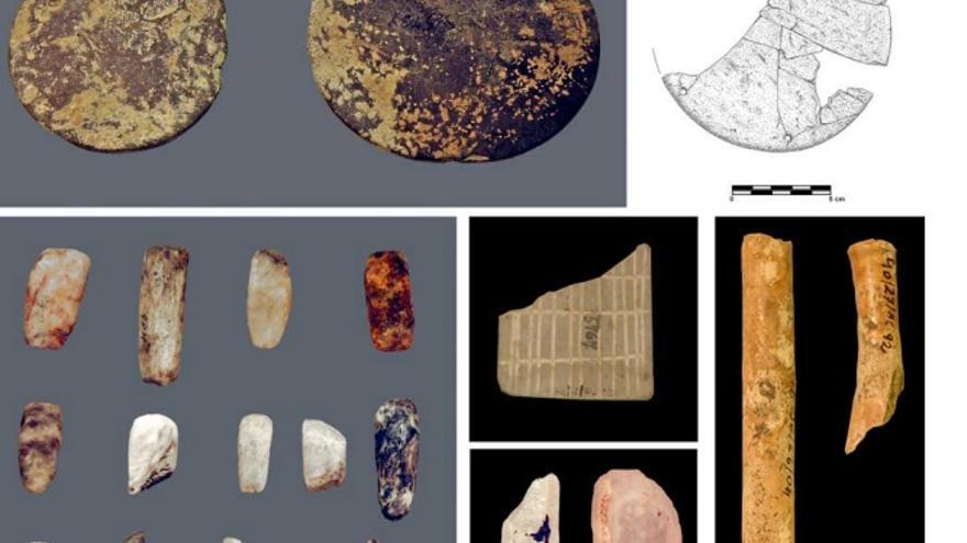 Objetos encontrados en el dolmen de Portillo de las Cortes. Aguilar de Anguita (Guadalajara)